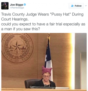 """Judge wears anti-Trump """"Pussyhat"""" in the courthouse…"""