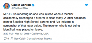 They will blame President Trump for this: Teacher Discharges Weapon During Class in Seaside, California…