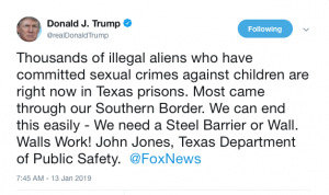 Trump tweets about Child Sexual Abuse by Illegal Aliens…