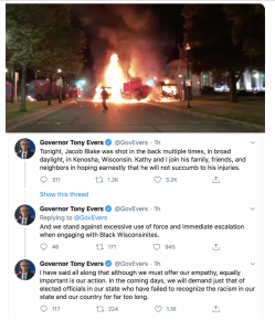 Democrat Gov. of Wisconsin & former WI Superintendent of Public Instruction, Tony Evers, tweets to incite riots in his state.