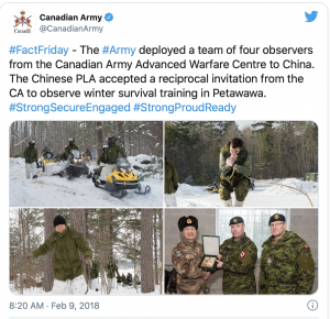Canada: The Department of National Defence has confirmed China's People's Liberation Army was indeed on Canadian soil in February of 2018 for the Canadian Armed Forces winter training exercises.