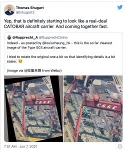 Photos of China's new aircraft carrier are leaking. (China is much more advanced … these leaks are propaganda for simple folks)