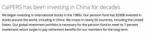 The California Public Employees' Retirement System (CALPERS) Invests in Communist China.
