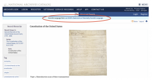 National Archives Places 'Harmful Language Alert' On Page Hosting U.S. Constitution.